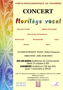 Bientôt 100 ans ! En attendant de fêter dignement cet évènement, nous vous proposons un FLORILÈGE VOCAL, le 15 octobre 2019 à Aix-les-Bains et le 7 novembre à Chambéry.